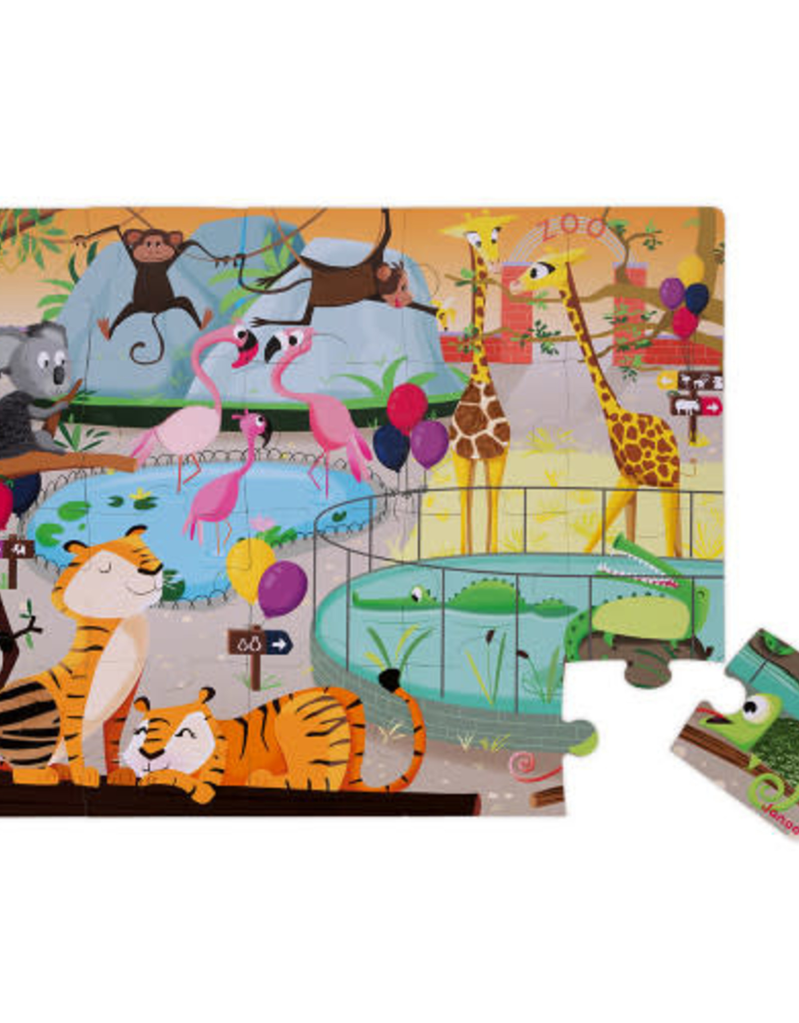 Janod 20pc Tactile Puzzle: A Day at the Zoo
