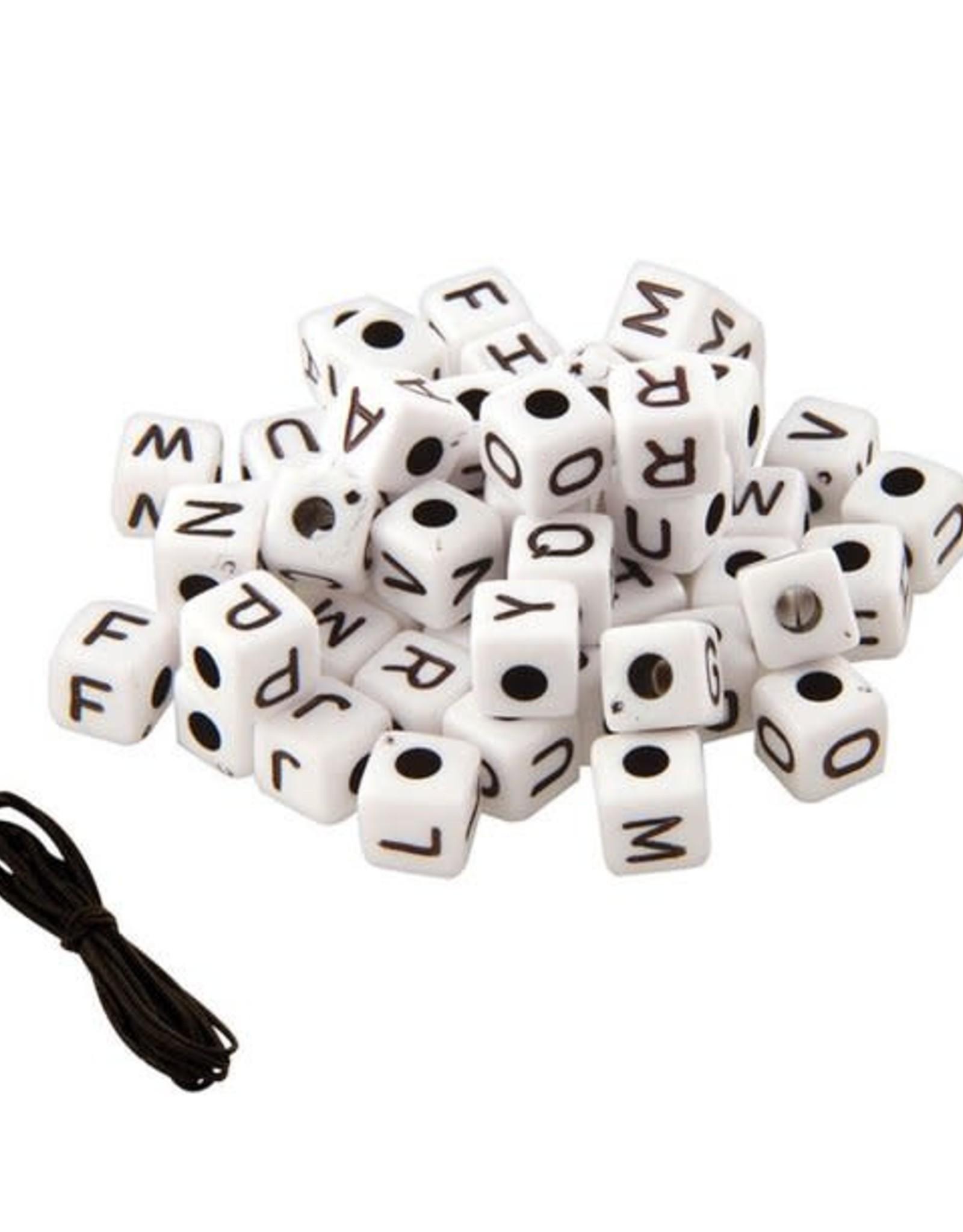 Fashion Angels Bead Bag: Alphabet White Cubes
