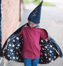 Creative Education Reversible Wizard Cape & Hat, Black/Gold, Size 4-6