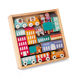 Janod Kubix Block Set and City Puzzle