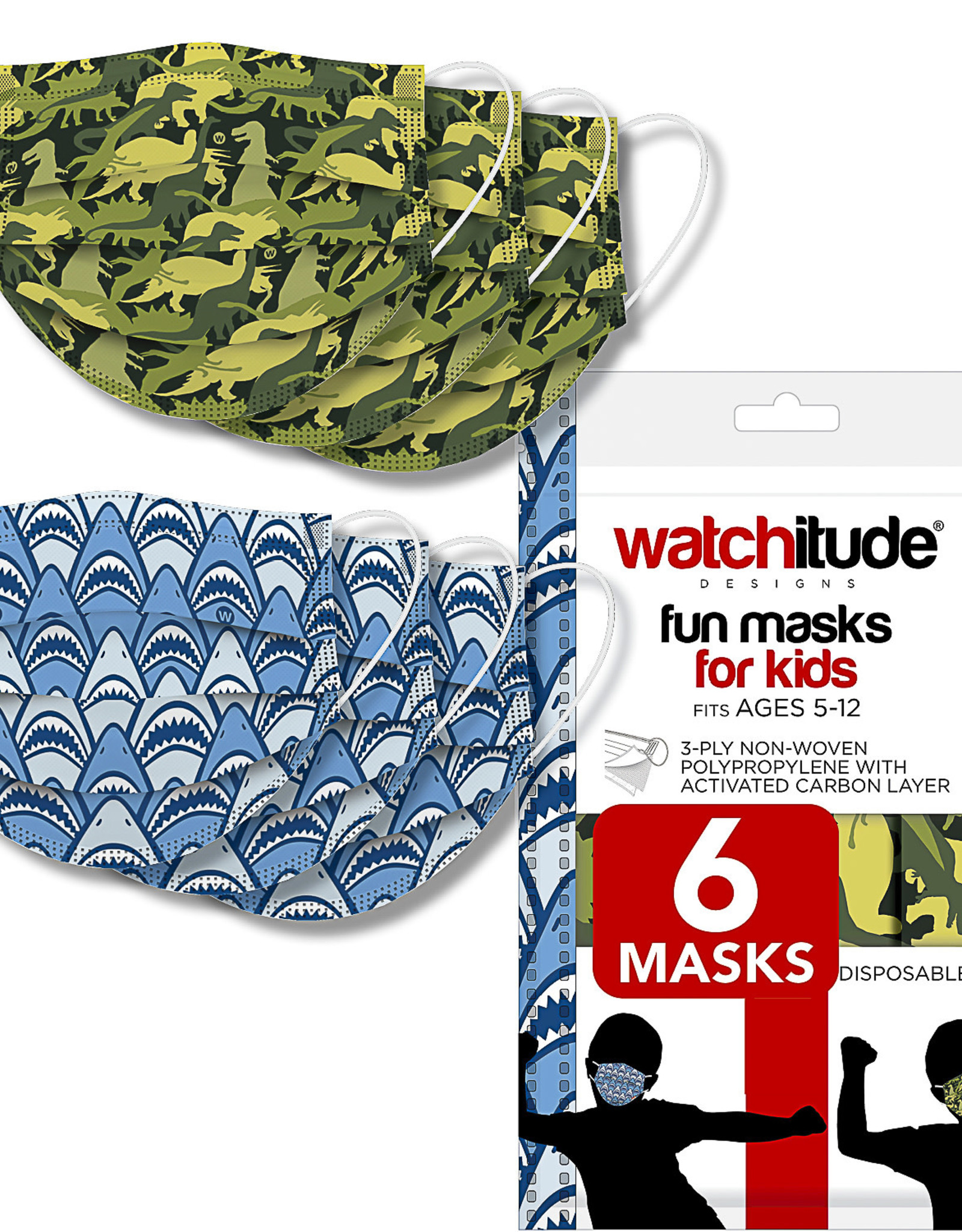 Watchitude Child's Mask: SHARK FRENZY & DINO CAMO