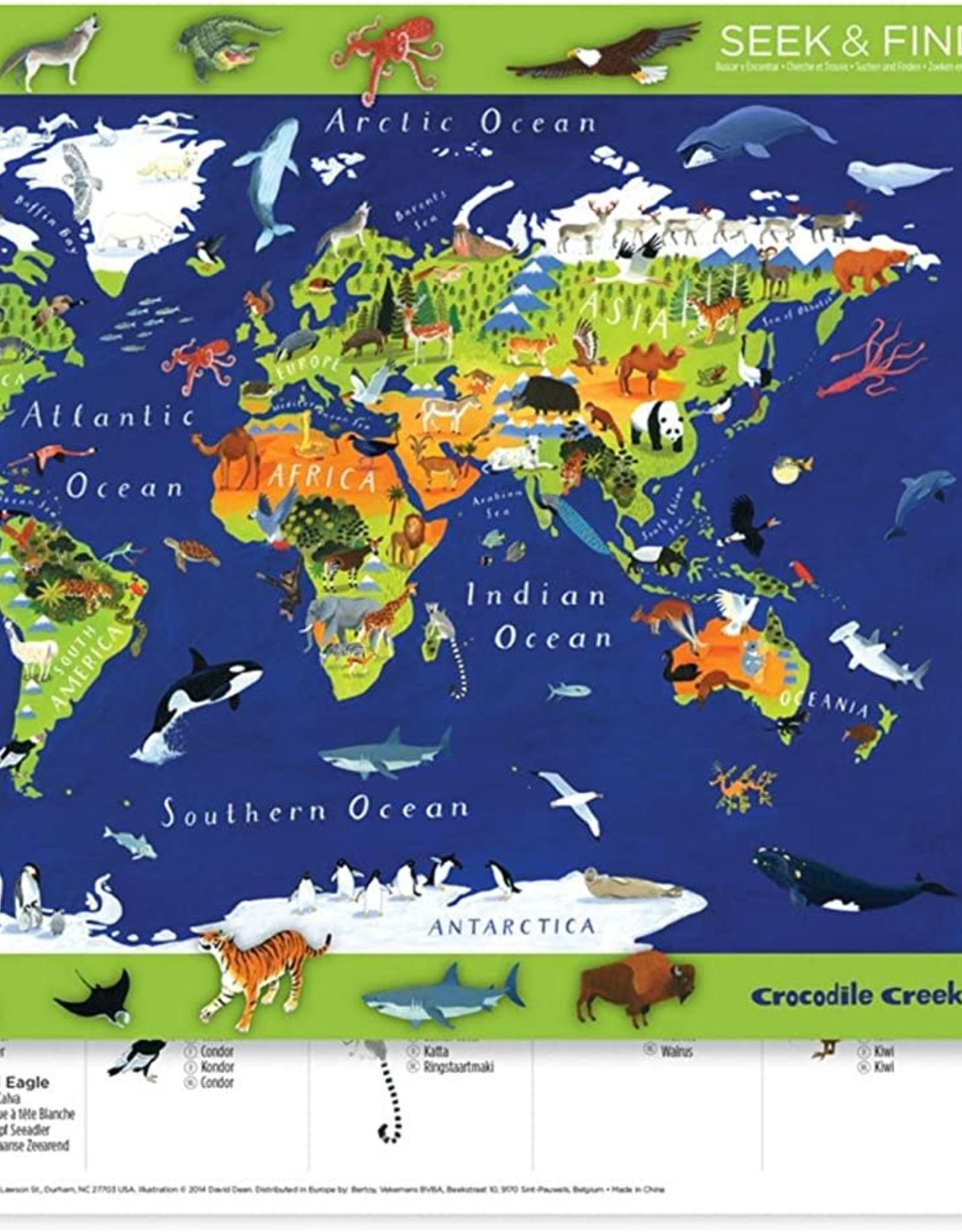 Crocodile Creek 2 Sided Placemat, World Animals