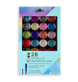 Bright Stripes 28 Metallic Watercolors