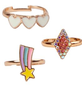 Creative Education Boutique Heart Star Rings, 3 Pcs