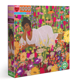 eeBoo 1000pc-Puzzle: Woman In Flowers