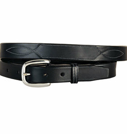 "Tory 1"" Black Belt with Stitch Pattern"