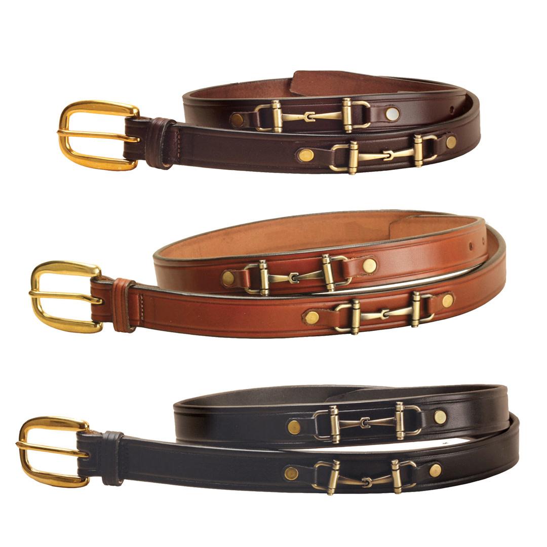 "Tory Leather 1"" Brass Snaffle Bit Belt, Black"