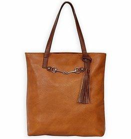 AWST Tote bag, snaffle bit w/ tassel brown