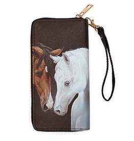 AWST Clutch wallet , grey and bay horse heads