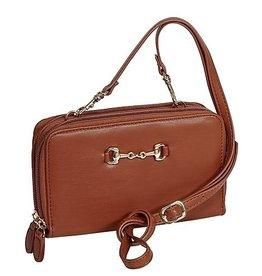 AWST Cross body wallet bag, snaffle bit brown