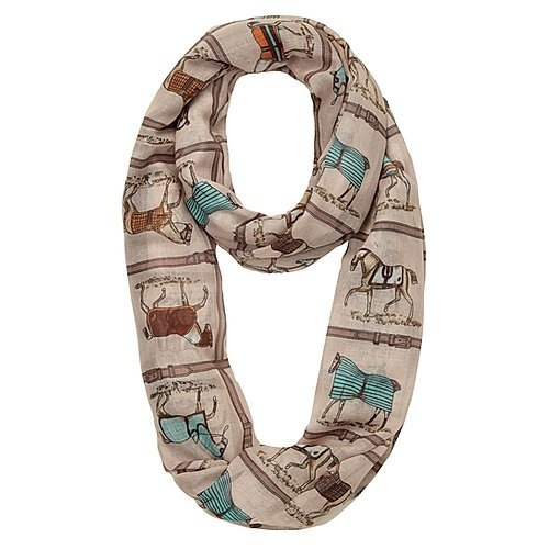 Infinity  Scarf , horses in blankets blue