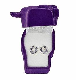 Earrings, rhinestone purple