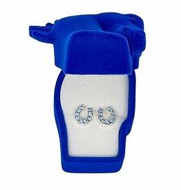 Earrings, rhinestone blue