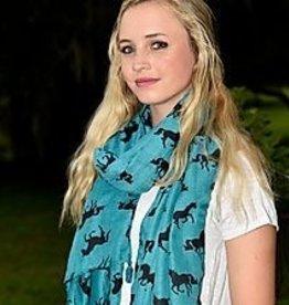 AWST Tassel scarf teal & black