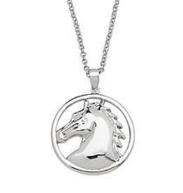 AWST Necklace, round horse head. Rhodium