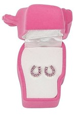 Earrings, rhinestone pink horseshoes