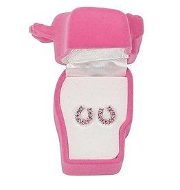Earrings, rhinestone pink horseshoes