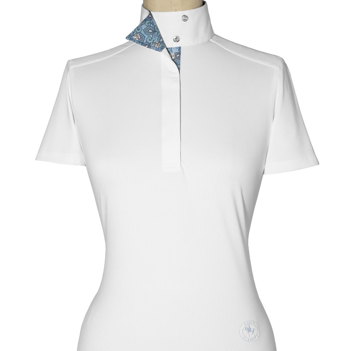 "Essex Essex ""Paisley"" Ladies Talent Yarn Wrap Collar Short Sleeve Show Shirt"
