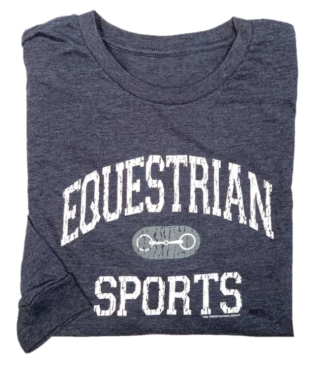 Stirrrups Clothing Company Stirrups Ladies Long Sleeve equestrian Sports Tee, Charcoal