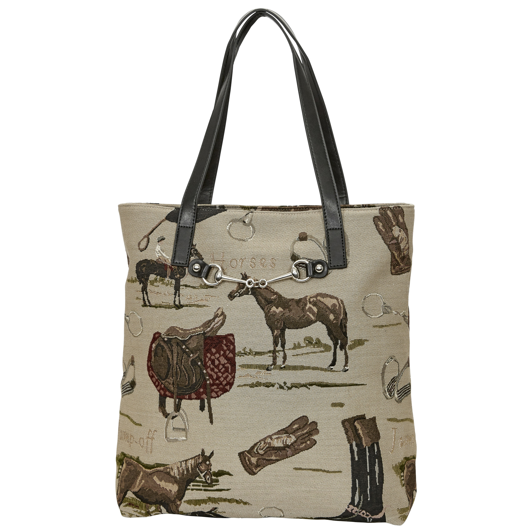 Equestrian Tapestry Pattern with Snaffle Bit