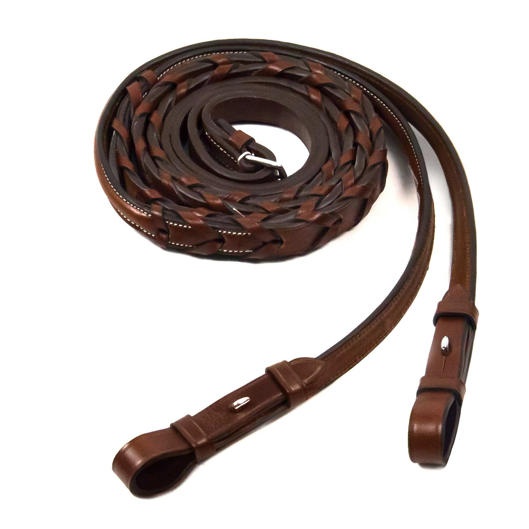 Schockemohle Schockemoehle Hunter Laced Fancy Reins With Hooks, Embroidered