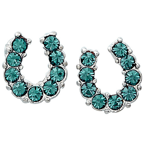 AWST AWST Earrings, Rhinestone Horseshoe, Aqua