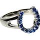 AWST AWST Rhodium and Sapphire Hosehoe Ring