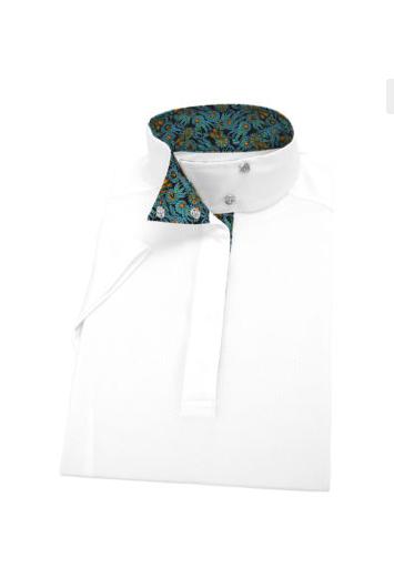 Essex Essex Rosettes Ladies Talent Yarn Wrap Collar Short Sleeve Show Shirt