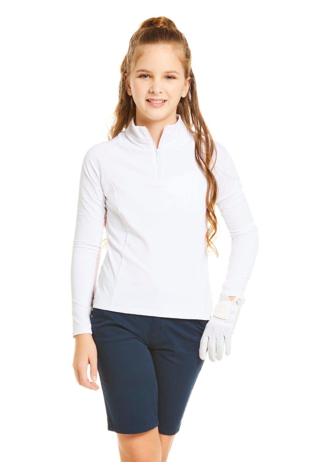 Ibkul IBKUL Solid Long Sleeve Mock Neck Top, Hot Pink