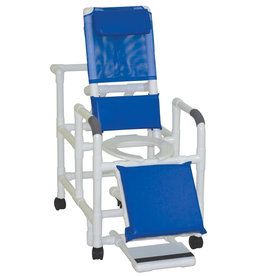 MJM International PVC RECL Shower Chair W/ Blue Fabric