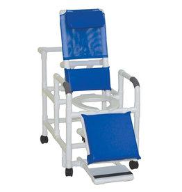 MJM International PVC RECL Shower Chair W/ Blue Fabric