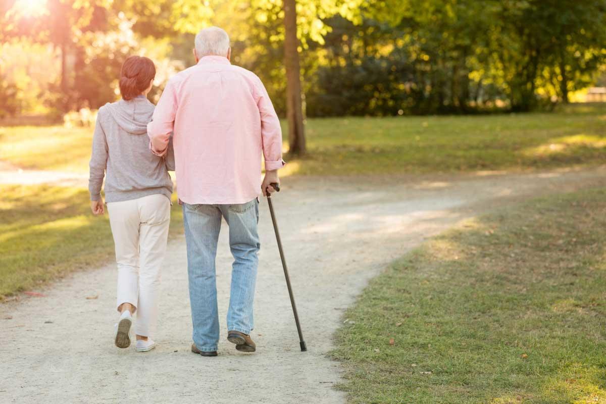 Senior with walking cane