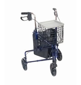 Drive/Devilbiss 3 Wheeled Rollator with Basket and Pouch
