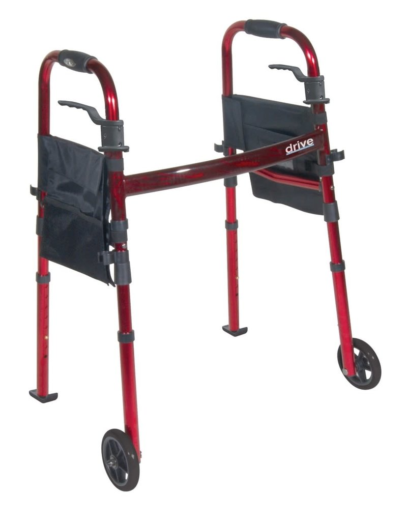 """Drive/Devilbiss Portable Folding Travel Walker with 5"""" Wheels and Fold up Legs"""