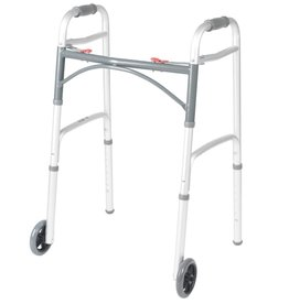 """Drive/Devilbiss Deluxe Two Button Folding Walker with 5"""" Wheels"""