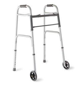 "Medline Industries 2-Button Folding Walker with 5"" Wheels"