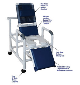 MJM International PVC Reclining Shower Chair With Soft Seat, DLX Elongated