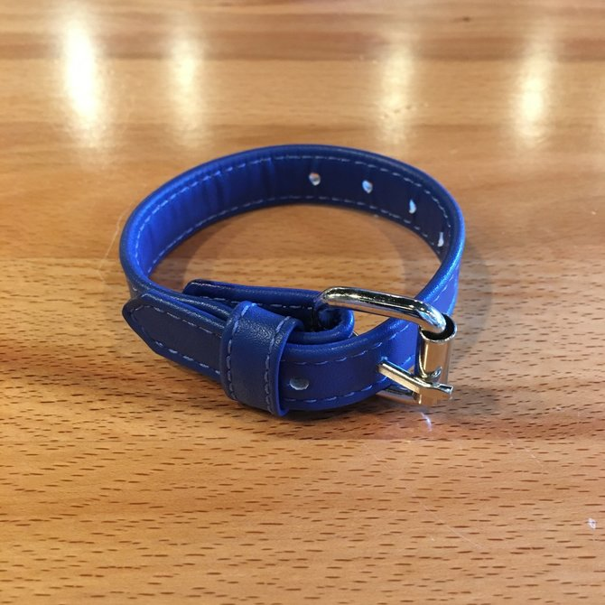 M2M44 Leather Cock Ring with Buckle Blue