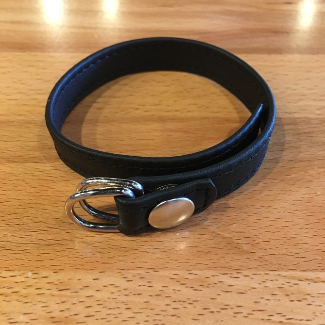 M2M70BLK D Ring Leather Cock Ring With Snap Release Black