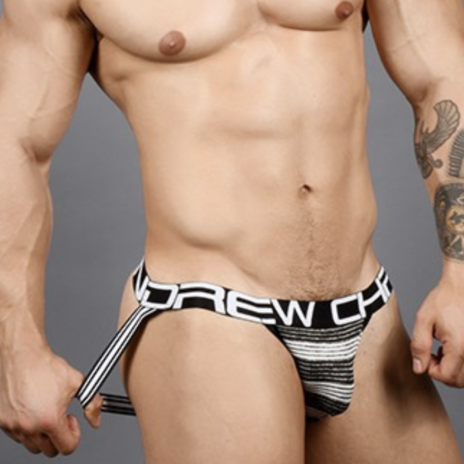 Andrew Christian Ultra Stripe Jock Black + White