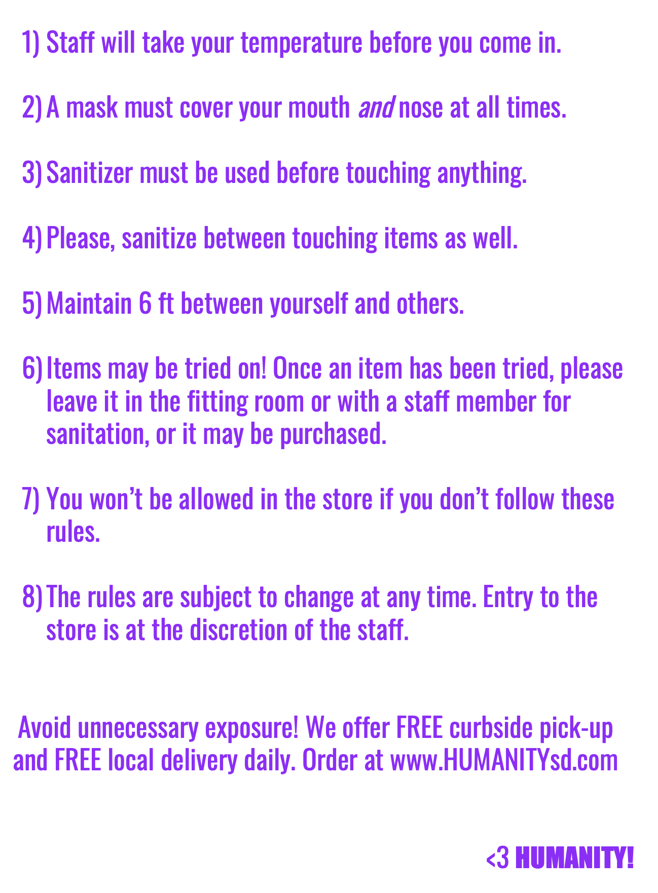 In-store shopping rules