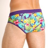 STEELE Freestyle Swim. Brief w/ Cup in Purple / Teal Floral
