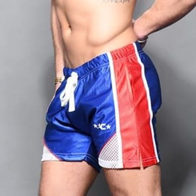 Andrew Christian Dazzle Training Shorts - Royal/Red