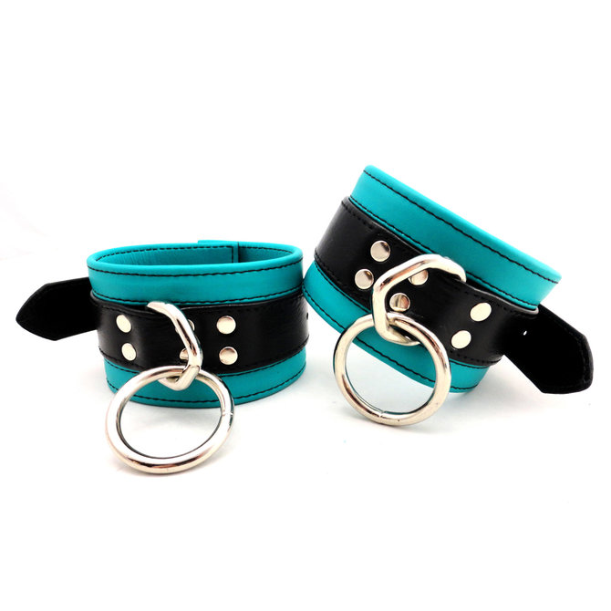 Leather Wrist Cuffs - Turquoise