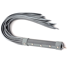 """20"""" Leather Strap Whip - Grey"""