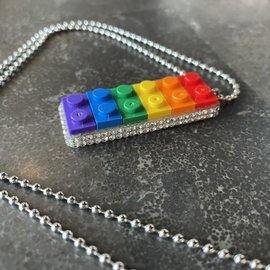 Alan Leingang Pendant - Rainbow - Clear Rhinestone