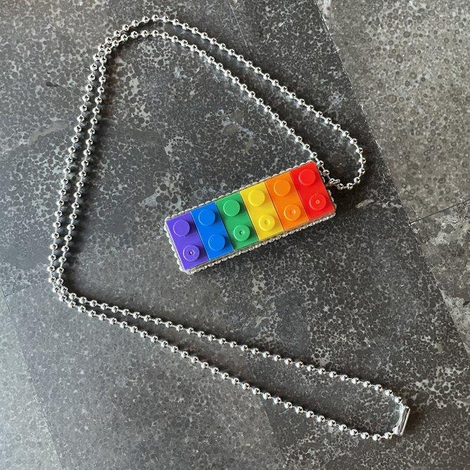 Alan Leingang Rainbow Pendant - Clear Rhinestones
