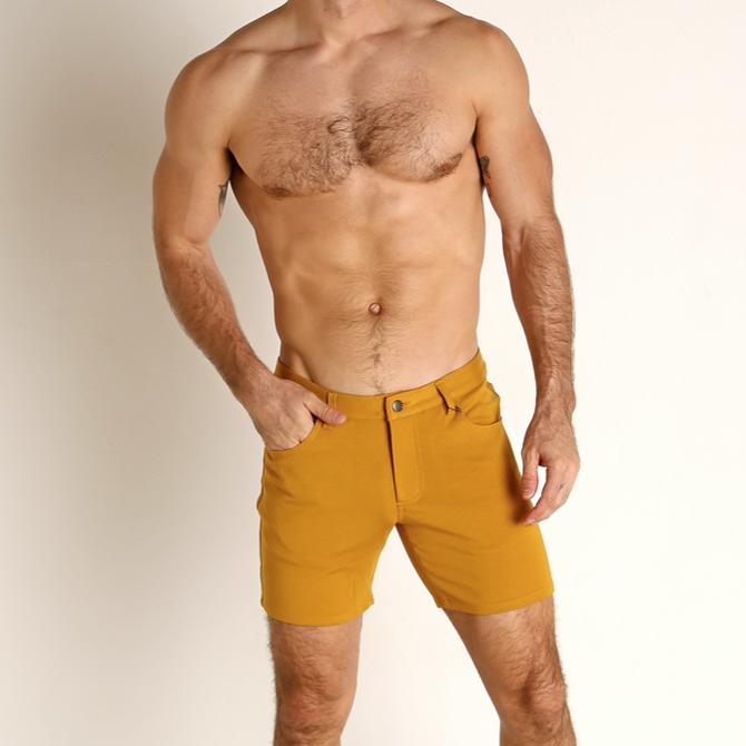 """STEELE 5"""" Knit Shorts - Honey Gold"""