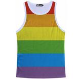 Knobs Rainbow Stripe Mesh Tank