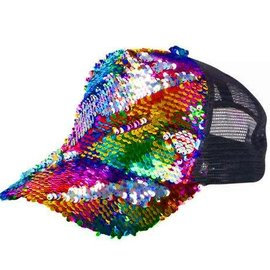 Rainbow Flip Sequin Trucker Hat